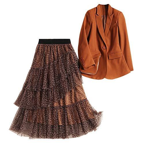 Leopardo Torta Piccolo Lunga Vestito Mezza Maglia Donna Primavera Moda Lunghezza Gonna Abito Ragazze fO5dSqW