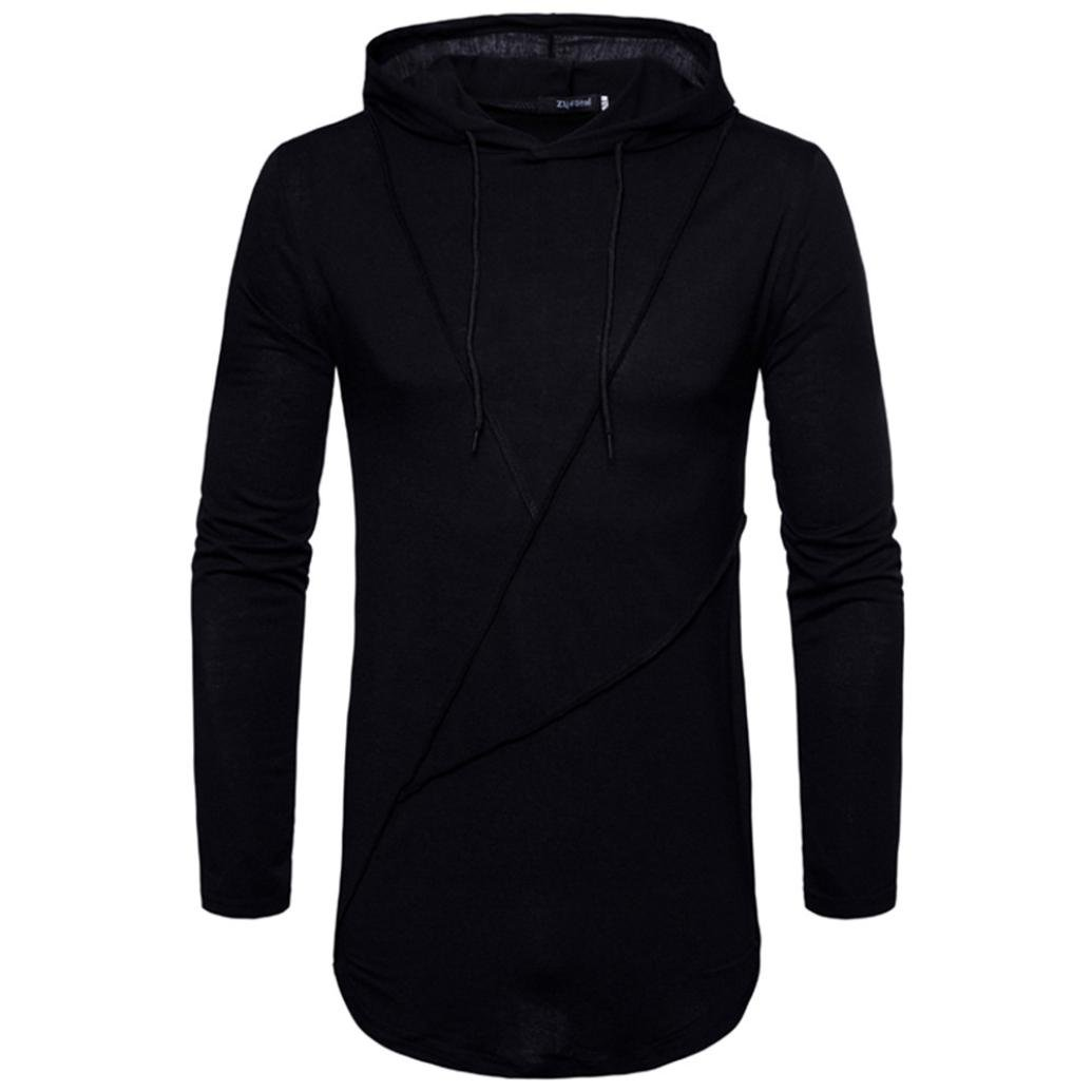 Clearance Sale! Wintialy Men's Autumn Pure Color Joint Long Sleeved Hoodie Sweatshirts Top Blouse