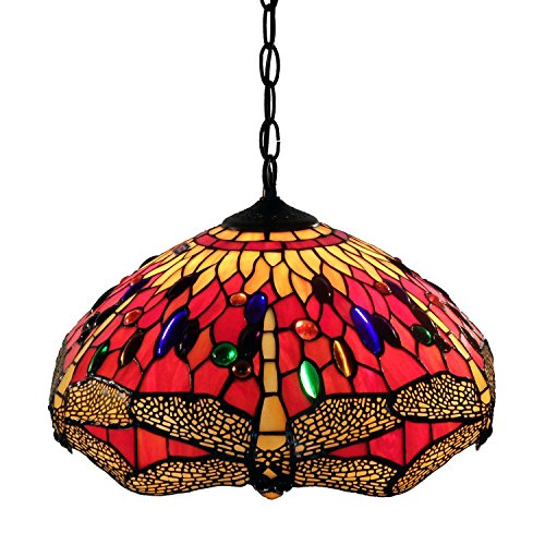 Whse of Tiffany P161467A Tiffany Style Dragonfly Hanging Lamp, Red