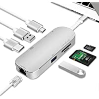 USB C Hub,Type C Hub ALLFU Aluminum 7-in-1 USB C Adapter Type C 3.1 Charging Port with 4K HDMI Port, 2 USB 3.0 Ports, SD/TF Card Reader and RJ45 Ethernet for Macbook Pro, Google Chromebook- Silver