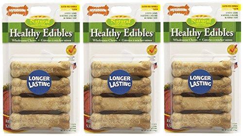 (3 Pack) Nylabone Healthy Edibles Dog Chew Treat Bones (Petite - Roast Beef - 8 ct. Per Pack)