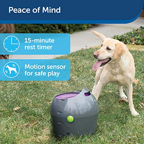 PetSafe Automatic Dog Toy Ball Launcher - Interactive Tennis Ball Thrower for Dogs Indoor & Outdoor Adjustable Range – Motion Sensor – Options for A/C Power or Battery Operated