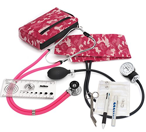 Prestige Medical A5-CMP Aneroid Sphygmomanometer Sprague-Rappaport Nurse Kit, Camouflage Pink (Blood Pressure Cuff Camo)