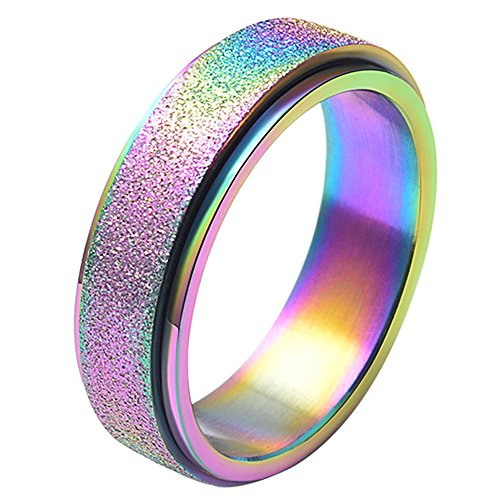 Unisex's 6mm Stainless Steel Spinner Ring Rainbow Matte Sand Blast Finish Size 10