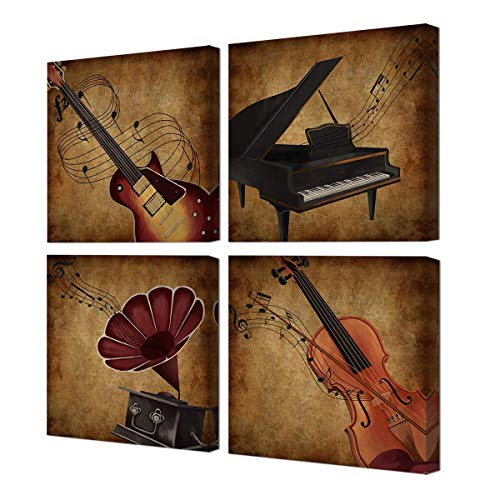 - VVOVV Wall Decor Music Wall Art Vintage Gramophone Electric Guitar Piano Violin Musical Instrument Painting Picture Print on Canvas Stretched Framed Ready to Hang (12x12inchx4Pcs)