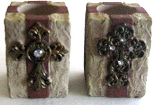 Set of 2 Spiritual Tea Light Candle Holders Hope & Faith by Greenbrier