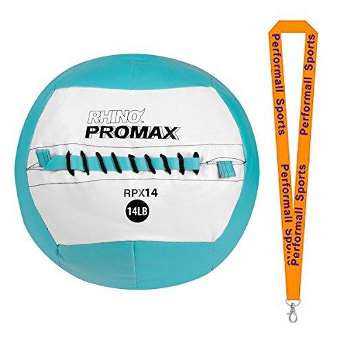 Champion Sports Slam Ball Rhino Promax 14lb Light Blue with 1 Performall Lanyard RPX14-1P