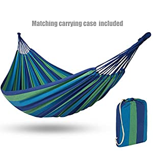 Portable Durable Cotton Brazilian Style Hammock Double 2 Person Camping Bed With Matching Carrying Bag - Blue #1125