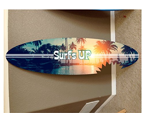 4' wall hanging surf board surfboard decor hawaiian beach surfing beach decor by Rad Grafix