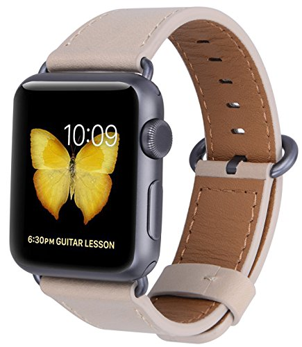 JSGJMY Compatible with Iwatch Band 38mm 40mm 42mm 44mm Women Men Genuine Leather Replacement Strap Compatible with Series 4/3/2/1 Sport Edition (Light tan with Space Grey Clasp, 42mm 44mm M/L)
