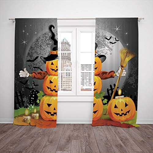 SCOCICI Satin Window Drapes Kitchen Curtains [ Halloween,Cute Pumpkins Funny Composition Traditional Celebration Witches Hat Broomstick,Multicolor] Bedroom Living Room Dorm Kitchen ()