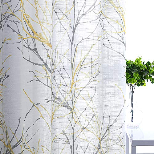 (Semi-Sheer Print Curtains 84-inch Long Living Room Yellow Grey Curtain Panels with White Linen Textured Grommet Tree Branches Window Treatment Set for Living Room Bedroom 50