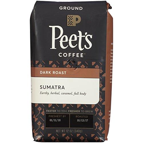 Peets Coffee Sumatra, Deep Roast Ground Coffee, 12 Ounce Single-Origin Coffee, Earthy, Complex, & Hefty Classic Blend of Indonesian Coffee, with A Syrup-like Body & Herbal Notes