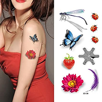 Oottati Tatuajes Temporales 3D Fresa Mariquita Mariposa De Plumas ...