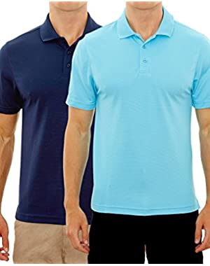 Men's Active Moisture Wicking Short Sleeve Polo Shirt (2 Pack)