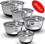 Stainless Steel Mixing Bowls Set With Non Slip Bottom (Set of 5). Sizes- 8, 5, 3, 1.7, 0.75 QT. For Healthy Meal. Must in Every Kitchen. With Special Bonus- Enjoy Decorated Recipe Book.
