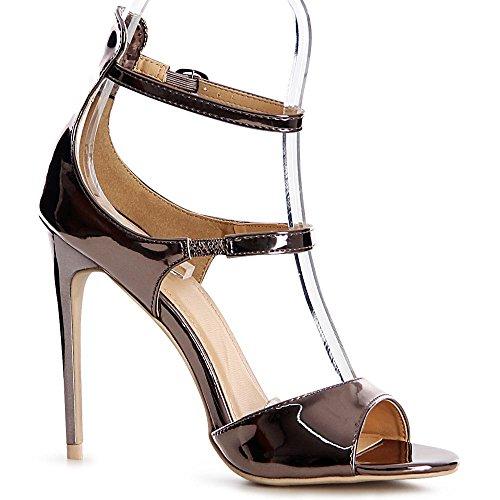 topschuhe24 - Zapatos de vestir para mujer gris plateado