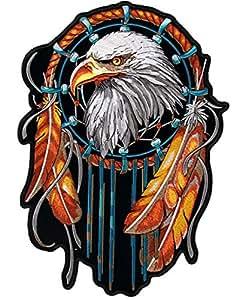 Parche termoadhesivo con diseño de águila y plumas, formato pequeño