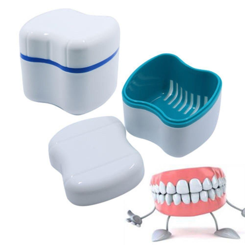 Travel Denture Case with Lid Plastic Denture Cup with Basket False Teeth Storage Box Container Rinsing Strainer Mouth Guard to Store and Clean by Blueyouth.