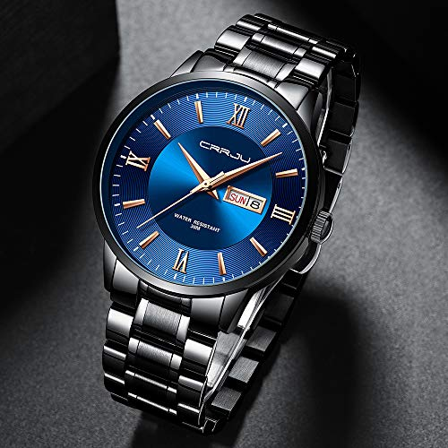CRRJU Business Minimalist Watches for Men,Casual Calendar Daily 3ATM Waterproof Quartz Watches,316L Solid Stainsteel Steel Band Watch with Box