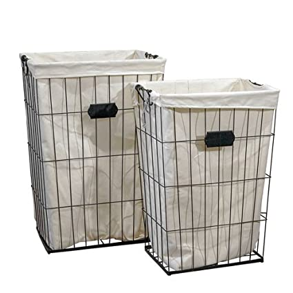 Finest Amazon.com: VIP Home & Garden 2 Pc Tall Wire Laundry Baskets with  WT39