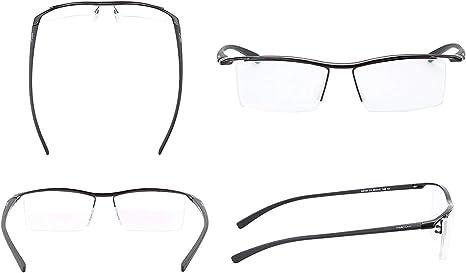 LUOMON Non-Prescription Plain Glasses Men Semi Rimless Eyeglasses Titanium Frame