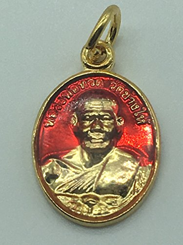 Seven One LUANG PU THUAT Thailand Buddha Monk Amulets Mini Holy Good Luck Rare ,Red Gold (A)