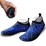 Bestry Barefoot Water Skin Shoes, For Surf Yoga Beach Swim Exercise Outdoor Soft Shoes, For Men & Women & Kids (Blue Black, US 5-6 EUR 36-37)