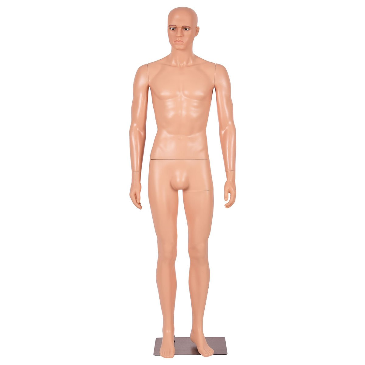 Giantex Male Mannequin Plastic Realistic Display Head Turns Dress Form w/Base HW51122