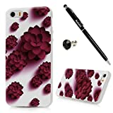 iPhone SE Case, iPhone 5S Case, iPhone 5 Case - Badalink Ultra-thin Slim Fit Flexible Soft TPU Colorful Print Pattern Shockproof Skin Gel Protective Cover with Dust Plug & Stylus Pen - Red Flowers