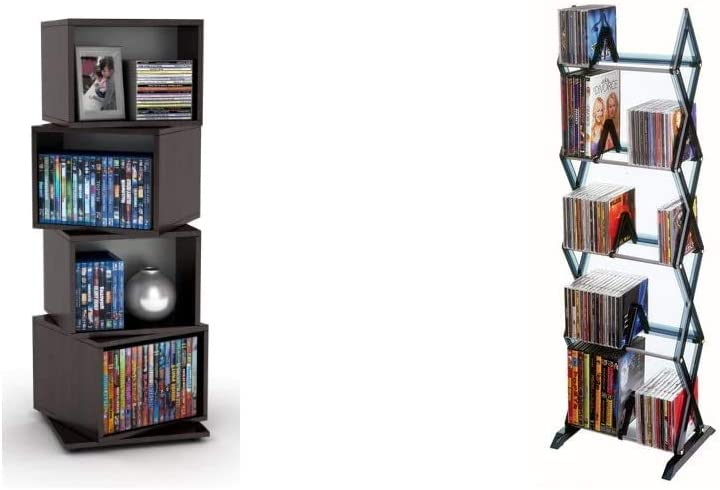 Atlantic 4 Tier Rotating Cube Espresso & Mitsu 5-Tier Media Rack - 130 CD or 90 DVD/BluRay/Games in Clear Smoke Finish, PN64835195