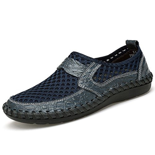 Mesh Casual shoes, Tezoo Summer Men's Mesh Breathable Walking Loafers, Slip-on Shoes, Hiking Shoes with Genuine Leather - Comfortable, Soft, Durable, Lightweight and Fashional Dark Blue 10.5