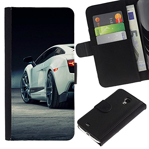 Funny Phone Case // Leather Wallet Protective Case with Slots for Money & Cards fit Samsung Galaxy S4 Mini i9190 /Sexy Car Super Racing/