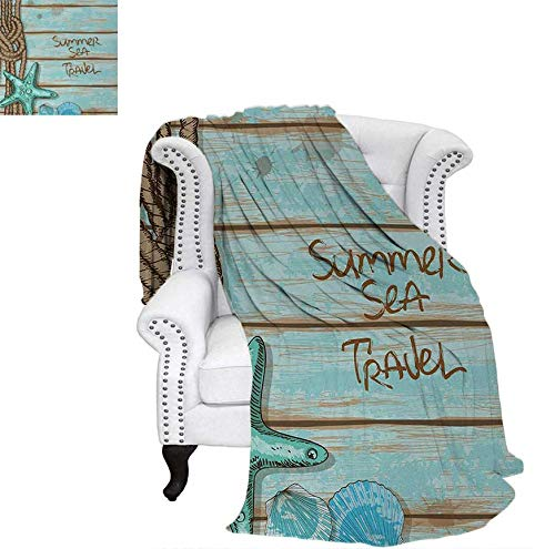 (Oversized Travel Throw Cover Blanket Summer Season Sea Travel Retro Boards of Ship Deck Rope Scallops Super Soft Lightweight Blanket 60