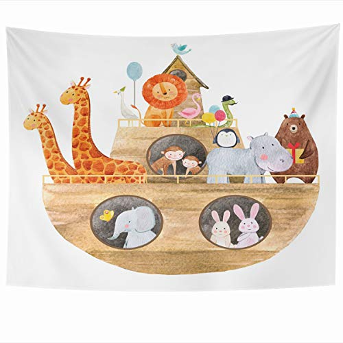 Ahawoso Tapestry Wall Hanging 60x50 Inches Baptism Bible Childrens Watercolor Cute Noahs Ark History Monkey Safari Ship Africa Design Duck Home Decor Tapestries Art for Living Room Bedroom Dorm