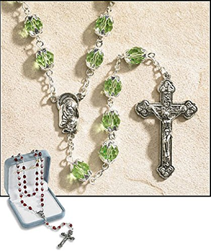 August Rosary (Ave Maria August Peridot Double Capped Birthstone Rosary 25 Inches 1.75