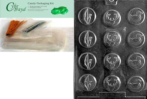 Cybrtrayd Mdk50-S022 Bow and Arrow Hunter Mints Sports Chocolate Candy Mold, Includes 50 Cello Bags, 25 Gold and 25 Silver Twist Ties (Bow Tie Mint Molds)