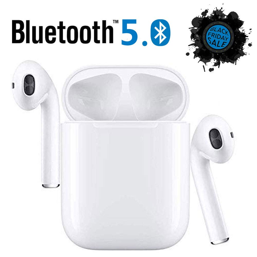 Wireless Earbuds Wireless Headphones with 24Hrs Charging Case Waterproof 3D Stereo Headphones in-Ear Built-in Mic Headset Premium Sound with Deep Bass for Sport Earphones Apple Airpod Android
