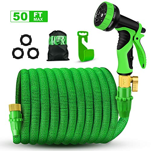 AIMEN 2018 Upgraded Expandable Garden Hose,Best 50 Ft Flexible Water Hose with 9 High Pressure Spray Nozzle,Solid Brass Connector Fittings no Rust&Leak,Extra Strength Fabric(50FT) (Green)