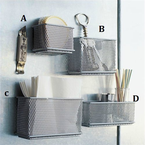 (Stock Show 4Pcs Magnetic Sturdy Mesh Desk Tray/File Organizer/Office Supply Caddy/Letter Holder/Magnet Basket, Silver Tone)