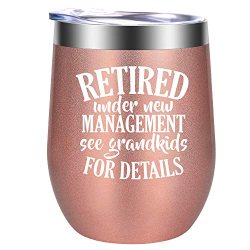 Retired Under New Management See Grandkids for Details | Retirement Gifts for Women | Funny Retiring Gift for Grandma, Teacher, Coworker, Best Friend, Wife, Mom, Nurse, Boss | GSPY 12oz Wine Tumbler