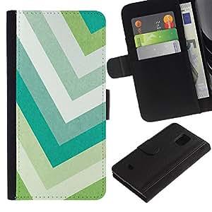 KingStore / Leather Etui en cuir / Samsung Galaxy S5 Mini, SM-G800 / Colores en colores pastel del verde del trullo blanco