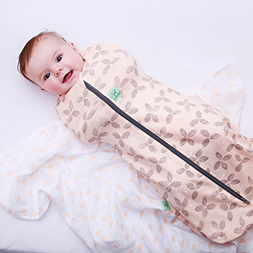 1.0 TOG Cocoon Swaddle Bag (3-12 Months, fits 15-22 lbs) Petals. Organic Cotton + Bamboo 2 in 1 Swaddle Transitions into arms Free Wearable Blanket Sleeping Bag. 2 Way Zipper for Easy Diaper Changes by Ergo Pouch