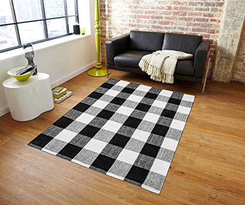 Egyptian Cotton Tree] 100% Hand-Woven Black and White Buffalo Checkered Area Rug for Living Room/Lounge, Checkered Carpet Washable Throw Rugs(: 47.3