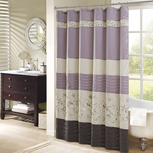 Serene Faux Silk Embroidered Floral Shower Curtain Purple 72×72″