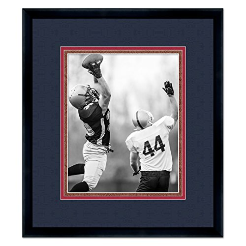 - New England Patriots Black Wood Frame for a 8x10 Photo with a Triple Mat - Navy Blue, Red, and Football Textured Mats