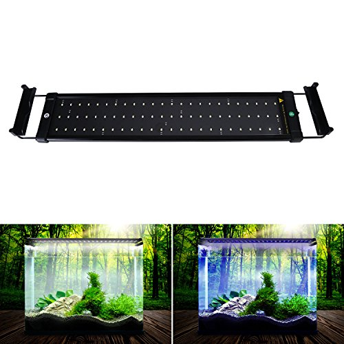 NONMON NONMON LED Aquarium Lights, Fish Tank Light Hood with Extendable Brackets, White and Blue LEDs 50cm/19.6inch (Light Bar 24 Fish Tank Inch For)