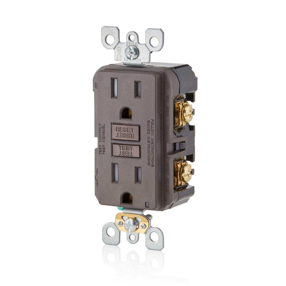 Light Almond 3-Pack 15-Amp Leviton GFTR1-3T SmarTest Self-Test SmartlockPro Slim GFCI Tamper-Resistant Receptacle with LED Indicator