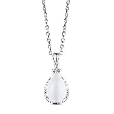 sweetiee Halskette 925 Sterling Silber, Anhänger Tropfen Pave Zirkonia Orne  Auge Katze, platin, 450 mm  Amazon.de  Schmuck 09916a2889
