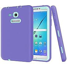 "Galaxy Tab 3 Lite 7.0 Case,Galaxy Tab E Lite 7.0 Case,MAKEIT Shock-Absorption / High Impact Resistant Hybrid Dual Layer Armor Defender Full Body Protective Case Cover for Samsung Galaxy Tab 3 Lite 7.0"" and Tab E Lite 7.0""-Purple/Mint Green"